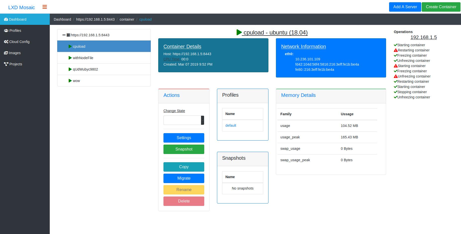WebApp LxdMosaic: Deployments & Storage - LXD - Linux